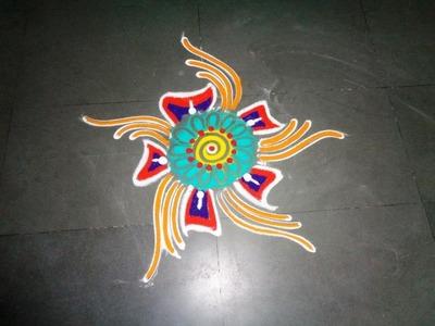 How to make easy fancy rangoli design