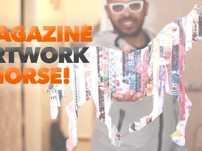 How to make magazine cuts artwork : Horse - DOIT03