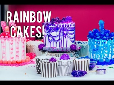 How To Make RAINBOW CAKES With A Sprinkle SURPRISE INSIDE!  Decorating With Tiffany Pratt!