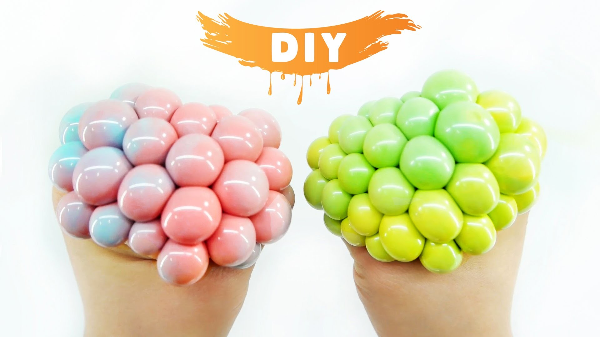 How To Make Squishy Mesh Slime Ball Diy Two Tone Stress Ball