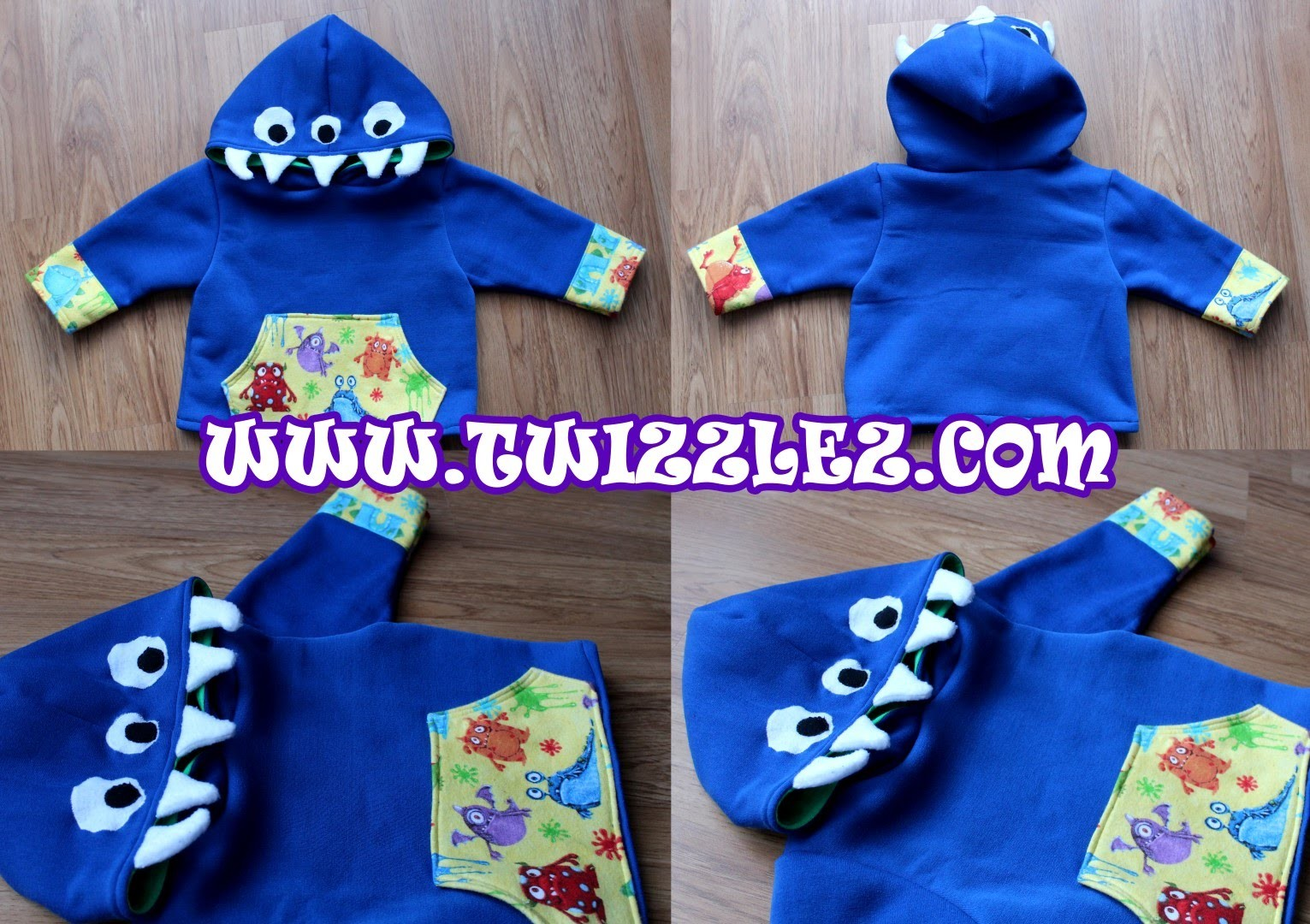 How to Sew. Make a Kids Monster Hoodie | FREE Pattern Intermediate Sewing Tutorial | Twizzlez