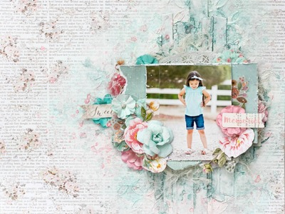 Step by step mixed media scrapbook layout tutorial. Prima Marketing heaven sent