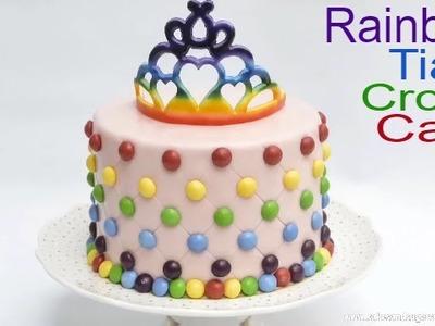 TIARA CROWN CAKE: How to make a edible rainbow tiara crown cake by Busi Christian-Iwuagwu