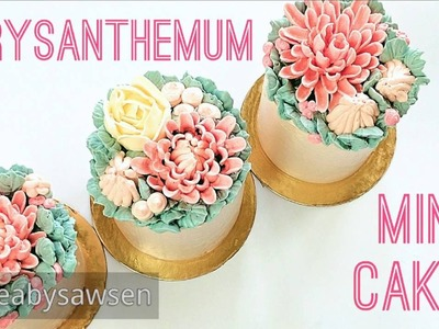 Buttercream chrysanthemum mini cakes - how to make from cupcakes & pipe flowers directly on a cake