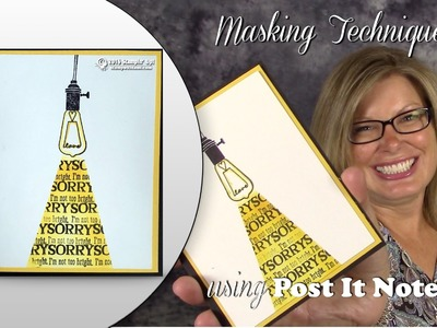 How to do the Post It Masking Technique featuring Stampin Up Pun Intended Hostess stamps