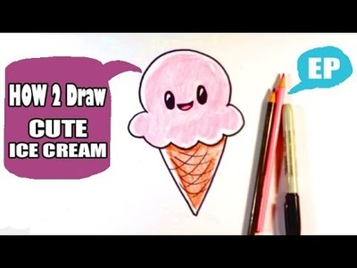 How to Draw a Cute Ice Cream Cone - Easy Pictures to Draw