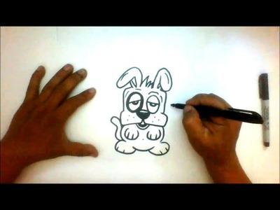 How to Draw a Puppy cartoon character - Como dibujar un perrito