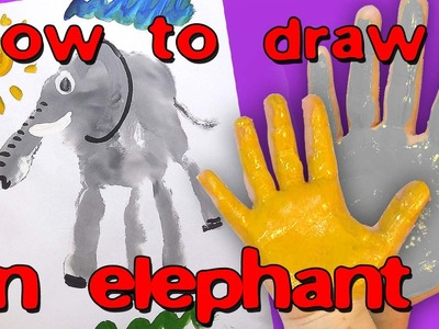How to draw an elephant. Pictures. Fingers, hand print