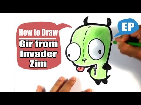 How to Draw Cute Gir from Invader Zim - Easy Pictures to Draw