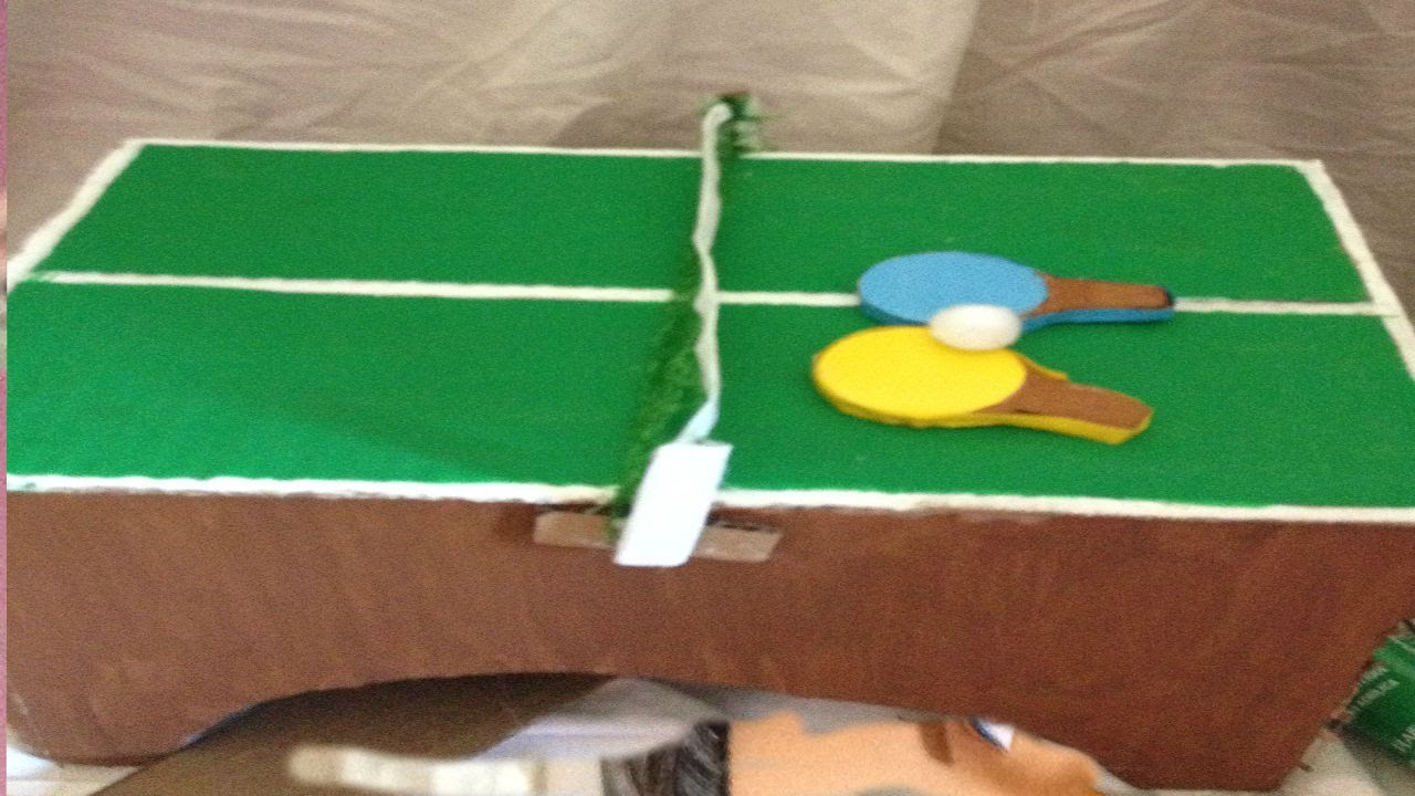 How To Make a Table Tennis Table or a Ping Pong Table For Dolls.Doll Craft