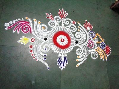 How to make new fancy & beautiful rangoli design from latest rangoli