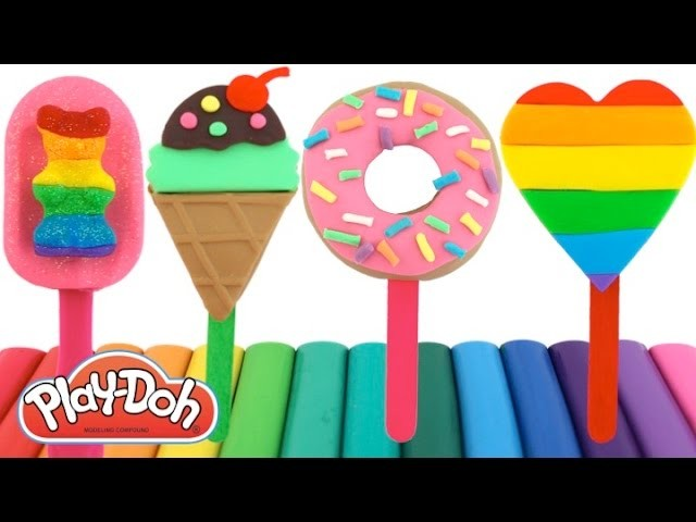 How to Make Play-Doh Popsicles with Molds * Fun Play for Kids * RainbowLearning