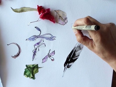How to paint flowers- ink and watercolor - speed paint. Dry flowers