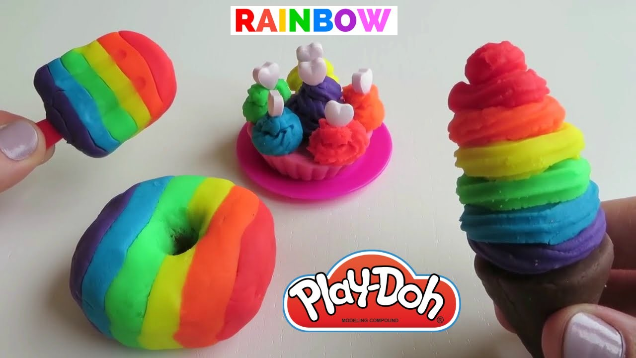HUGE Play-Doh Rainbow Ice Cream Dessert Popsicle Cone Donut Cupcake How To DIY Sweet Shoppe