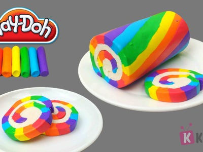 Play Doh How to Make a Rainbow Roll Cake* Creative for Kids & Children* Play Dough Art