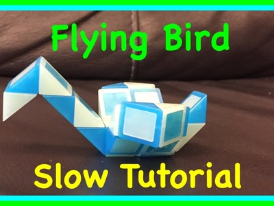 Rubik's Twist or Smiggle Snake Puzzle Tutorial: How to Make a Flying Bird Shape SLOW Step by Step