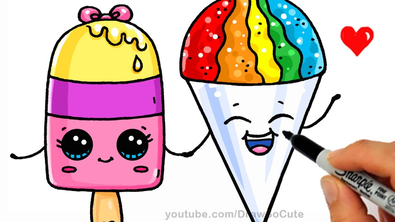 Summer Treats - How to Draw a Popsicle and Snow Cone Easy - Cute Cartoon Dessert