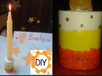 Diy Candle Holder Using White Cement.  Very Easy To Make