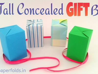 "Origami Tutorial to make a paper ""Concealed. Closed Tall Gift Box"" using single A4 sheet."