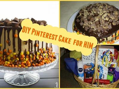 DIY easy Pinterest birthday cake for him + birthday gift basket