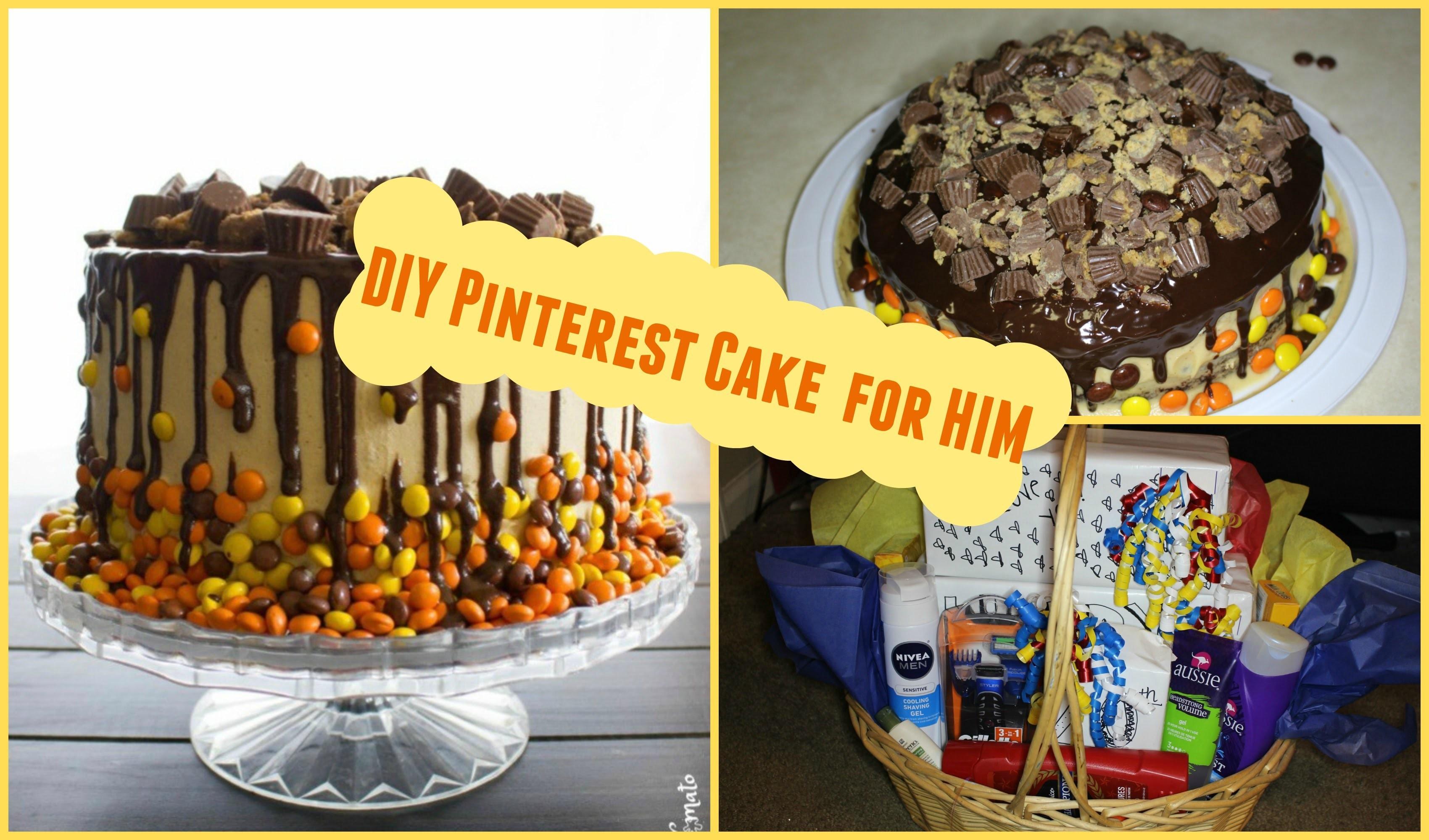 DIY Easy Pinterest Birthday Cake For Him Gift Basket