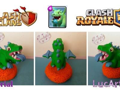Baby dragon Polymer Clay Tutorial. Bebé dragon con porcelana fría. Clash of Clans & Clash Royale.