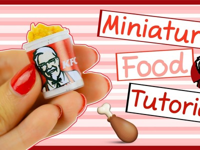 Miniature Fast Food KFC Bucket ~ No polymer Clay Needed. EASY ♥