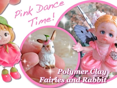 Pink Fairies and Rabbit - Polymer Clay Sculptures