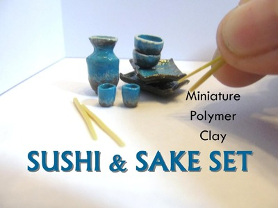 Polymer Clay Sushi and Sake Dish Set Dollhouse Miniature