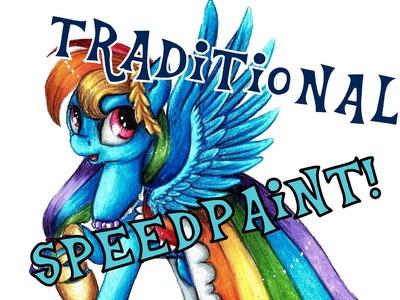 """Rainbow Dash in gala dress"" - traditional speedpaint"
