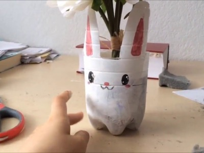 DIY recycled Bunny vase room decoration for easter