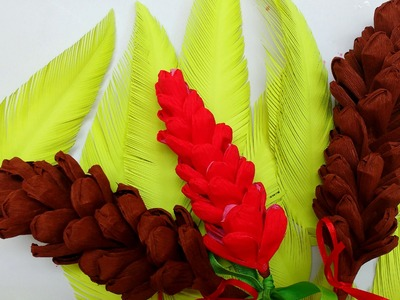 Easy Crepe Paper Pine Cone (Flower # 76)