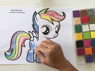 My little Pony's Rainbow  Dash  DIY Color With Chalk:  BubbiePop Coloring Book