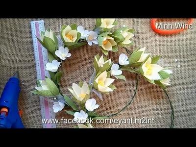 Paper flower head wreath - Vòng đội đầu bằng hoa giấy