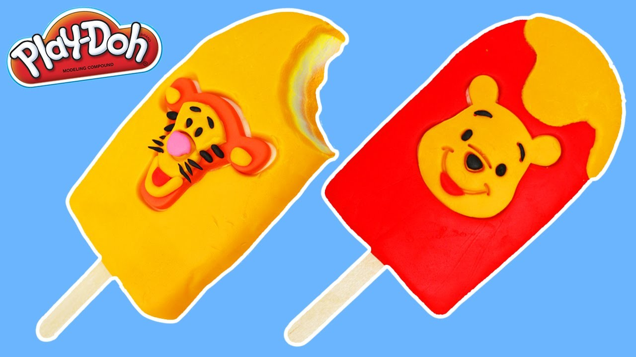 Play Doh Winnie the Pooh and Tigger Popsicles Fun & Easy DIY Play Dough Ice Cream Treats!