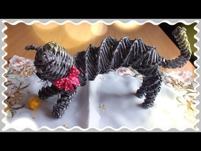 Weaving, paper crafts beautiful cat