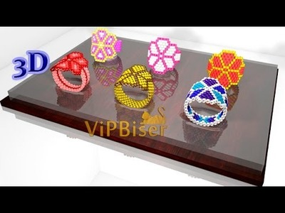 Beaded Ring for Girl. Odd Count Peyote Stitch. 3d Tutorial.
