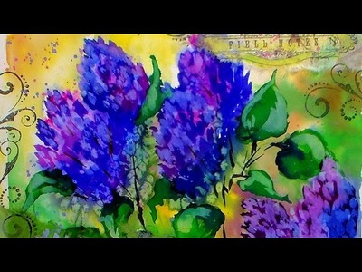 Bold Lilac Painting Tutorial With Radiant Watercolors. Mixed Media