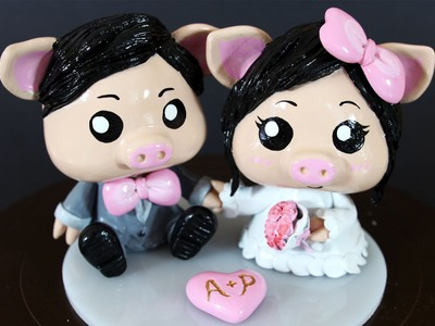 Cute Pigs - Bride and Groom Wedding Cake Topper Clay Tutorial