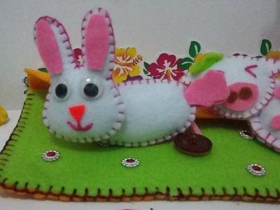 DIY rabbit doll from fabric (simple and  easy - membuat boneka kelinci flanel