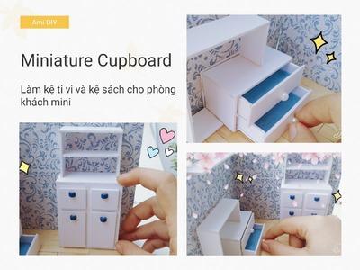 Dollhouse Miniature Living Room #2   DIY MINIATURE CUPBOARD   Cách làm tủ ti vi cho búp bê   Ami DIY