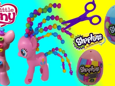 My Little Pony Pinkie pie Cutie Twisty-Do Playset bead hair style + Shopkins egg surprise