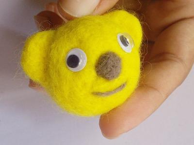 Needle Felting Easy Tutorial | Kawaii Cute Bear for Keychain | HandiWorks #63