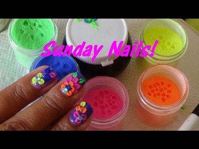 Sunday Nails: Neon Acrylic Flowers on Mood Changing Gel Polish Tutorial!