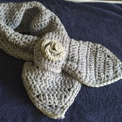hand crocheted wrap scarf with rose detail