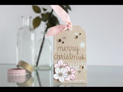 Christmas tag pink and gold