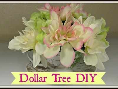 Dollar Tree Tea Cup Floral Arrangement! |Shabby Chic