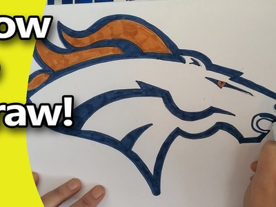 How to Draw The Denver Broncos Logo  Step by Step, by hand