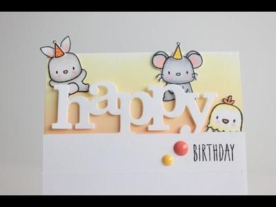 Partial die cutting Happy Birthday card