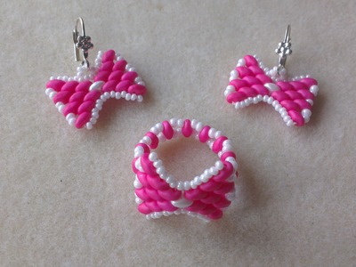 SET RING AND EARRINGS WHITH SUPERDUO BEADS